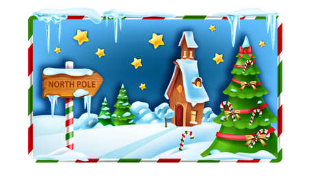 Christmas winter landscape, North Pole vector background, x-mas snow scenery, Santa Claus house. New Year decorated pine tree, snowdrift, woodland season view, icicle. Christmas village landscape