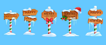 Christmas wooden sigh board set, vector x-mas North Pole road pointer, Santa Claus workshop arrow. New Year holiday game frame kit, snow drift, winter decoration titles. Christmas sign banners, icicle Illustration