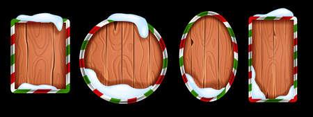 Christmas wooden sign board collection, vector winter holiday rustic banner frame set, snowdrift. Game UI x-mas timber badge kit, vintage geometric menu tablet, decoration design element. Wooden sign Illustration
