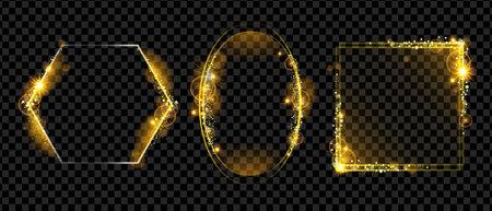 Christmas holiday golden frame, vector magic light border set, yellow shiny rectangle, glitter oval. Modern spark New Year decoration kit, premium luxury backdrop. Golden award frame collection