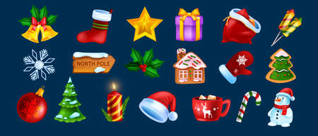 Christmas game UI icon set, vector x-mas winter holiday symbol kit, New Year cartoon design elements. Season celebration badge, Santa Claus hat, snowman, gingerbread cookie. Christmas icon collection Illustration