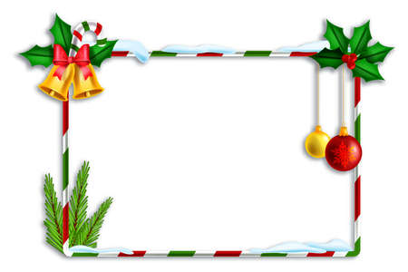 Christmas holiday vector frame, striped x-mas decoration border, festive winter square banner on white. New Year congratulation design element, fir branch, golden bell, holly. Christmas photo frame Illustration