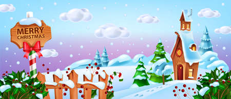 Christmas winter landscape, vector snow Santa Claus village house background, North Pole cartoon view. X-mas holiday fairytale banner, pine tree, clouds, fence, road sign. Christmas landscape scene