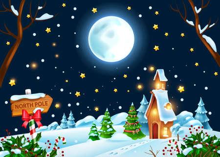 Christmas winter night landscape, vector holiday x-mas background, Santa Claus house, full moon, stars. New Year North Pole forest scene, snowdrift, pine tree, holly bush. Christmas evening landscape