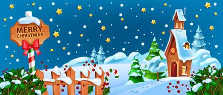Christmas winter snow landscape, x-mas Santa Claus night house cartoon background, road sign, stars. Holiday season nature view, North Pole fairy tale scene, pine tree, holly bush. Christmas landscape Illustration
