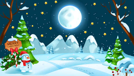 Christmas winter night snow landscape, x-mas woodland snowdrift vector background, full moon, star. Holiday season greeting card illustration, mountain, hill, snowman, pine trees. Christmas landscape