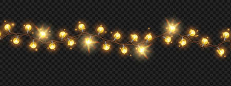 Christmas light string garland, vector holiday bright bulbs, x-mas festive glowing decoration background. New Year celebration party border, golden shiny wreath lamps illustration. Light garland frame