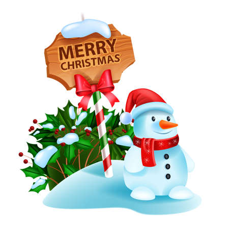 Christmas snowman vector illustration, winter holiday season cartoon character, road sign, holly bush. X-mas cute funny toy, Santa Claus hat, red scarf, happy smiling snowman on white. Christmas card