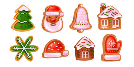 Christmas gingerbread cookies set, vector holiday winter dessert collection, Santa Claus face, bell, house. X-mas traditional season food, New Year hat, homemade pastry gift. Christmas gingerbread Illustration
