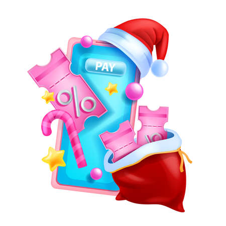 3D Christmas discount coupon illustration, vector event gift voucher, x-mas sale offer concept, smartphone. Holiday season online promotion pass, Santa Claus bag, red hat. Christmas winter coupon Illustration