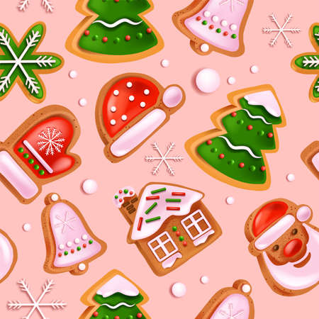 Christmas gingerbread cookie seamless pattern, holiday winter dessert texture, Santa Claus hat. New Year x-mas cartoon kids backdrop, apparel background, snowflake wrapping paper. Gingerbread pattern Illustration