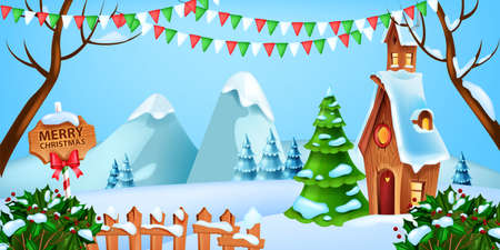 Christmas winter landscape, vector holiday x-mas snow background, pine tree, Santa Claus house, flags. Holiday mountain view, holly bush, wooden fence snowdrift. Christmas landscape celebration banner