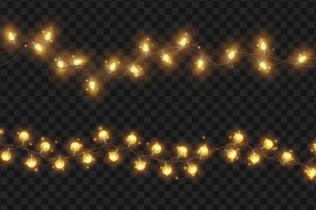 Bright light string garland, vector Christmas holiday illumination illustration, x-mas decoration element. Party celebration golden bulb on transparent background, carnival lamp. Light garland clipart Illustration