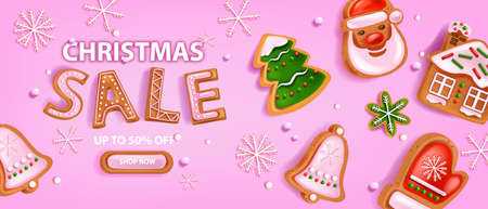 Holiday Christmas sale banner, vector winter x-mas discount background, gingerbread cookie, snowflake. Landing page promotion design, season special offer flyer, button. Christmas festive sale coupon Illustration