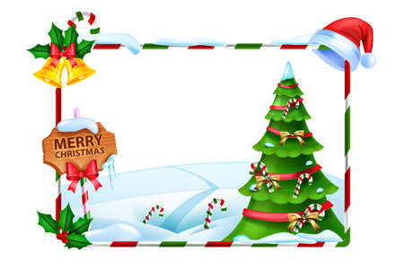 Christmas holiday frame, vector winter x-mas background, holiday decorated pine tree, wooden signboard. Festive decoration photo border, snowdrift, Santa Claus hat. Christmas landscape rectangle frame