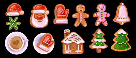 Christmas gingerbread cookie set, vector x-mas homemade sweet pastry, Santa Claus face, coffee cup. Holiday winter dessert icons, pine tree biscuit, traditional cartoon food. Christmas gingerbread man