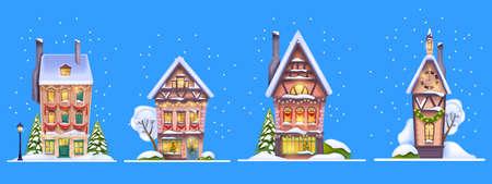 Winter Christmas house set, vector snow x-mas village street facade scene, small European town building. Noel night holiday cozy cityscape, pine tree, snowdrift, decorated window. Winter house cottage Illustration
