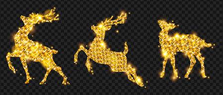 Golden Christmas deer glitter silhouette set, winter holiday reindeer decoration design, sparks, star. X-mas magic animal greeting decor, Noel celebration stag, season card items. Golden deer Illustration