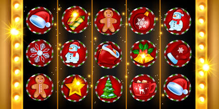 Casino Christmas 5-reel slot game icon set, vector gambling machine background, x-mas holiday winter object. Online UI design element, Santa Claus hat, pine tree, golden lamp. Lucky slot game badge