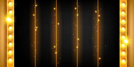 Casino 5-reel slot game background, vector golden jackpot UI menu panel, Vegas machine minimal banner. Vintage light lamp, luxury winner interface black border, retro gambling. Web slot background Illustration