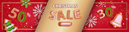 Christmas holiday sale banner, vector x-mas discount background, winter promotion offer landing page. New Year gold celebration festive poster, gingerbread cookie, snowflake. Christmas sale voucher