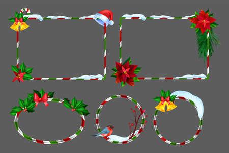 Christmas winter frame set, vector holiday x-mas border kit, New Year festive photo design element. UI game season striped banner, snowdrift, bullfinch, evergreen plants, golden bell. Christmas frame Illustration