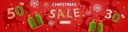 Christmas holiday sale banner, vector x-mas discount background, winter promotional offer poster. December season web template, shopping advertising voucher, gingerbread cookie. Christmas sale page