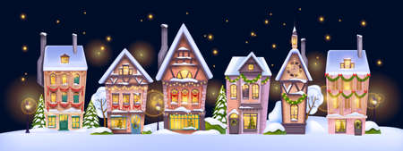 Christmas winter house landscape, vector holiday x-mas small town background, decorated village view. Street building facade, snow drift, night sky, stars, retro city scene. Christmas house postcard Illustration