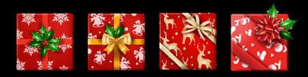 Christmas holiday gift box set, vector x-mas realistic present package top view, winter New Year surprise. Red wrapping paper, golden bow, yellow ribbon celebration decor. Shopping gift box collection Illustration