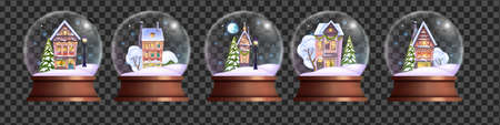 Christmas crystal ball set, vector x-mas holiday snow globe kit, winter realistic magic bubble, little houses. Decorated toy, snow drift, pine tree, village buildings. New Year crystal ball collection