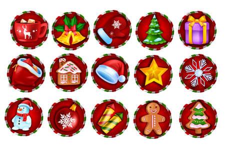Christmas winter game slot icon, vector casino holiday badge set, web UI x-mas design element kit. New Year Santa Claus sack, snowman, gingerbread, mobile app gambling collection. Game slot clipart