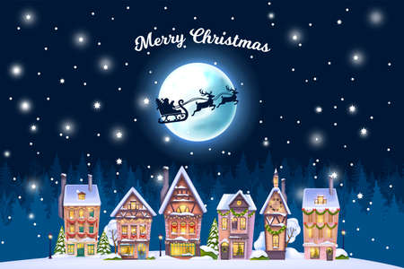 Christmas winter house landscape, vector holiday x-mas town postcard, night village background, moon. Decorated building facade view, forest silhouette, snow drift, Santa Claus sleigh. Winter houses