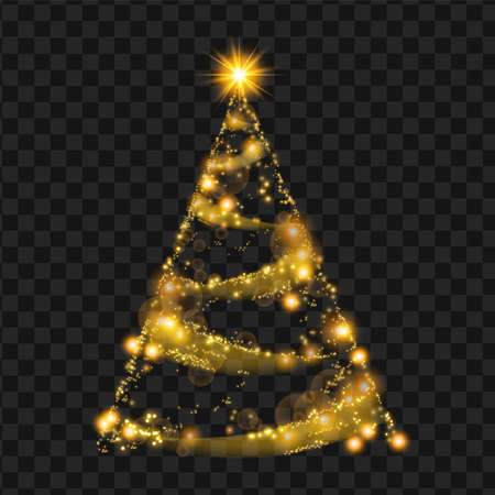 Gold Christmas tree, vector sparkle star decoration abstract holiday pine on transparent background. X-mas shiny winter illustration, glitter gift card, glowing magic ornament. Night Christmas tree