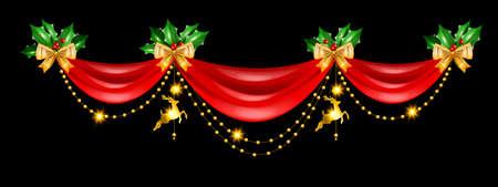 Christmas holiday border, vector red curtain frame design, golden decoration garland reindeer toy. X-mas winter vintage elegant banner, evergreen plant, yellow bow celebration header. Christmas border Illustration