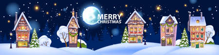 Christmas winter house illustration, vector snow x-mas home, night little town background, full moon. Holiday village street postcard, decorated building facade, snowdrift. Winter house, festive light