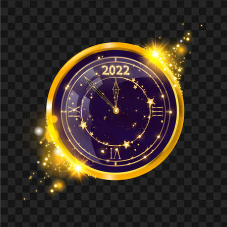 New Year gold clock vector illustration, winter holiday celebration Christmas countdown concept, star. Vintage luxury watch on transparent background, festive decoration magic midnight. New Year clock