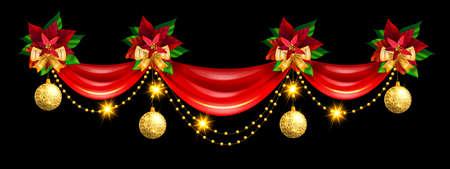 Christmas holiday border, vector x-mas ribbon curtain frame, golden winter decoration, yellow bow. Festive celebration garland, poinsettia leaf holly, evergreen plant on black. Christmas border header Illustration
