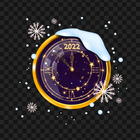 New Year clock illustration, vector winter holiday gold watch, festive celebration countdown concept. Magic midnight illustration, snow drift, snowflakes transparent background. New Year clock clipart
