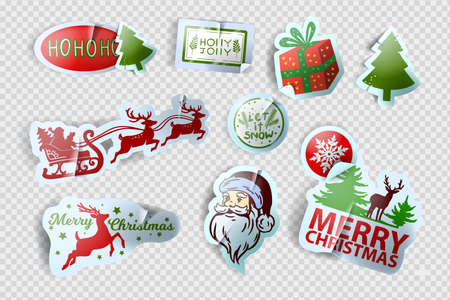 Christmas sticker vector set, x-mas winter holiday label kit, New Year cute tag illustration, Santa Claus. Realistic paper badge, reindeer silhouette, present, gift box, pine tree. Christmas sticker
