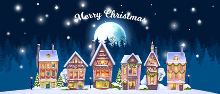 Christmas winter house landscape, vector holiday x-mas village background, small north town, full moon. Little city street facade view, festive decorated buildings, forest outline. Winter house scene