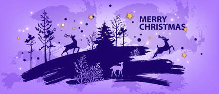 Christmas abstract forest background, vector winter x-mas landscape silhouette, pine tree outline, deer. North graphic nature postcard, blue brushstroke, night sky, stars scene. Christmas forest