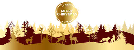 Christmas forest silhouette landscape, vector x-mas winter golden background, reindeer outline. Holiday nature abstract view, panoramic woodland scene, pine tree, wild animals. Christmas forest banner