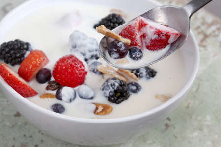 Healthy yogurt, berries and cereal for breakfastHealthy yogurt, berries and cereal for breakfast photo
