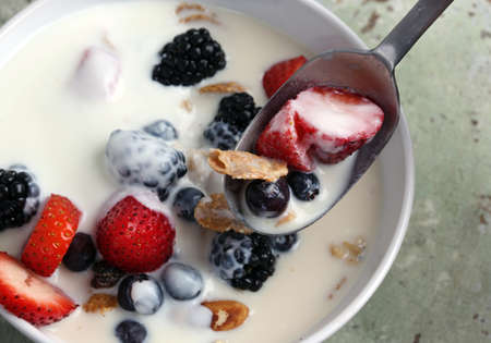 Healthy yogurt, berries and cereal for breakfastHealthy yogurt, berries and cereal for breakfast