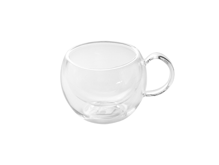 at the bottom of: Transparent Glass cup with a double bottom