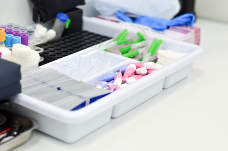 analyses: Special tubes and containers for analyses in the clinic Stock Photo