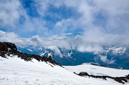 A beautiful mountain landscape. View of the North Caucasian ridge from Mount Elbrus.