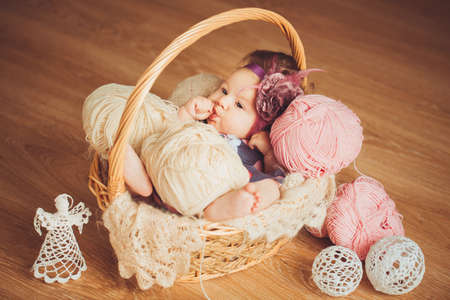 Cute newborn baby girl in a basket photo