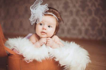Cute newborn baby girl with white bow, resting in a suitcase photo