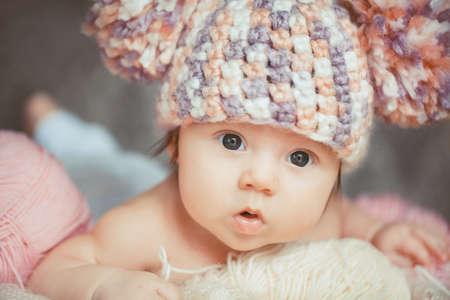 baby pink: Cute newborn baby girl Stock Photo